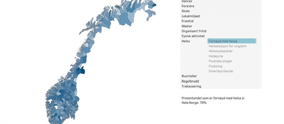 Utsnitt av nettsiden med norgeskart og tema